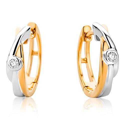 Orovi Schmuck-Krone - Pendientes de aro con diamantes de 9 quilates (375), dos tonos, oro blanco y oro rosa