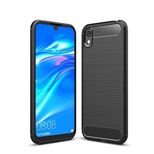 betterfon | Huawei Y5 2019 Hülle Carbon Erscheinungsbild Outdoor Stoßfeste Handy Tasche Hybrid Hülle Schutzhülle TPU Silikon Cover Bumper für Huawei Y5 2019 Schwarz