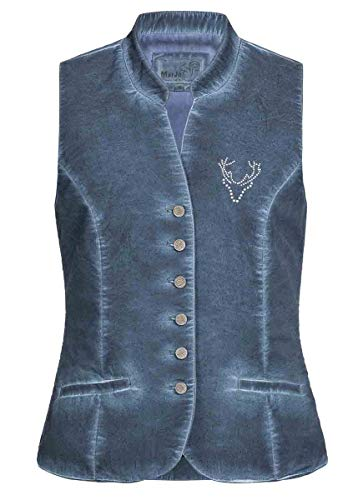 MarJo Trachten Damen Trachten-Mode Mieder Lotti in Blau traditionell, Größe:36, Farbe:Blau