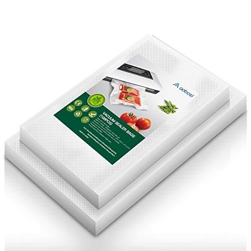 Aobosi Rollos Envasado al Vacío Bolsas Envasado al Vacío para Sous Vide BPA Gratis y LFGB Aprobado (50 Bolsas 20x30cm+50 Bolsas 25x35cm)