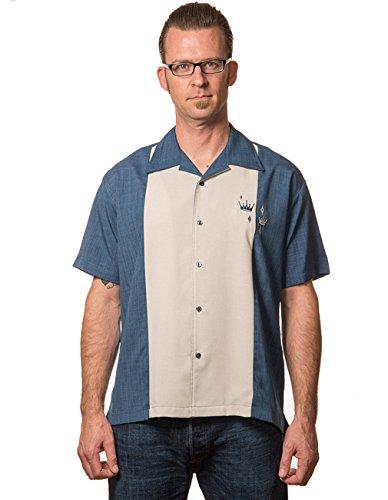 Steady Clothing Herren Vintage Bowling Hemd - Contrast Crown Blau Bowling Shirt S