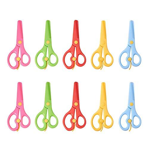 WANDIC Tijeras de seguridad, juego de 10 tijeras de plástico para niños preescolar, formación educativa para niños