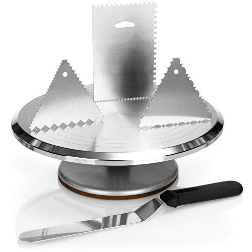 COM-FOUR® Piastra girevole per torte e set da forno - spatola per torte in acciaio inossidabile e raschietto per torte in alluminio - piatto da torta (5 pezzi - supporto per torta + spatola)