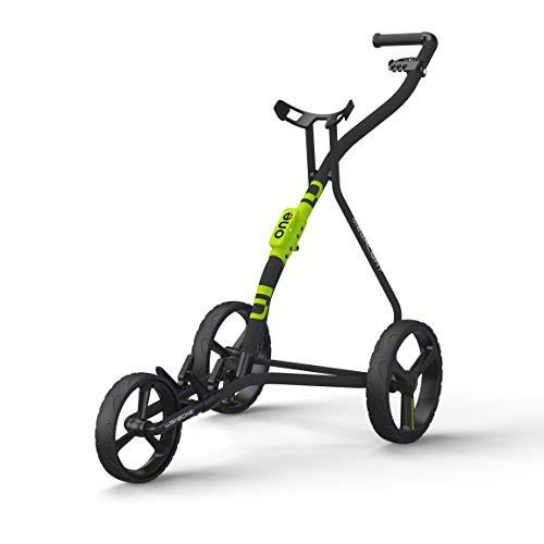 WISHBONE ONE Golfwagen Golftrolley klappbar Trolley 3 Räder Trolly für Golf Golfbag - Super leicht und einfach klappbar - Tri Card 3 Rad System - flexibel für alle Bags & Golfsets (charcoal-lime)
