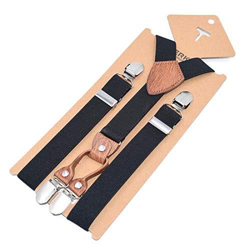 LLZGPZBD bretels gestreept bruin leer voor kinderen 4 clips armbanden kinderen strap-clip