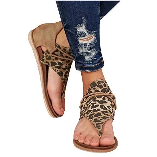 SoonerQuicker Sandalias Mujer Verano 2059 Planas Sandalias Casuales Zapatos de Verano Mujeres Peep Toe Casual Encaje up impresión Sandalias Planas (Marrón,36)