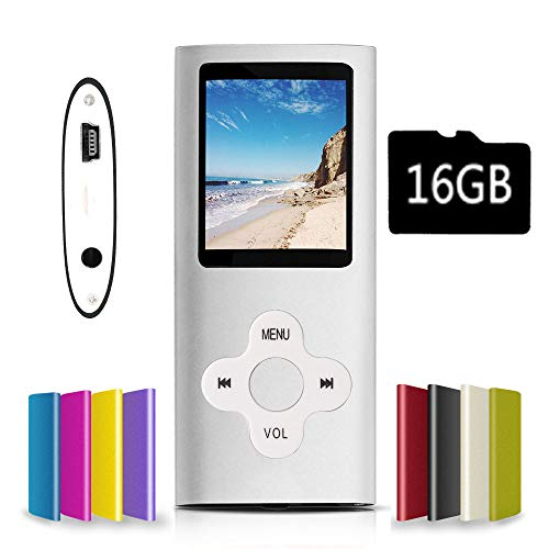 G.G.Martinsen MP3/MP4 Player with a Micro SD Card, Support Photo Viewer, Mini USB Port 1.8 LCD, Digital MP3 Player, MP4 Player, Video/Media/Music Player (Sky Silver)