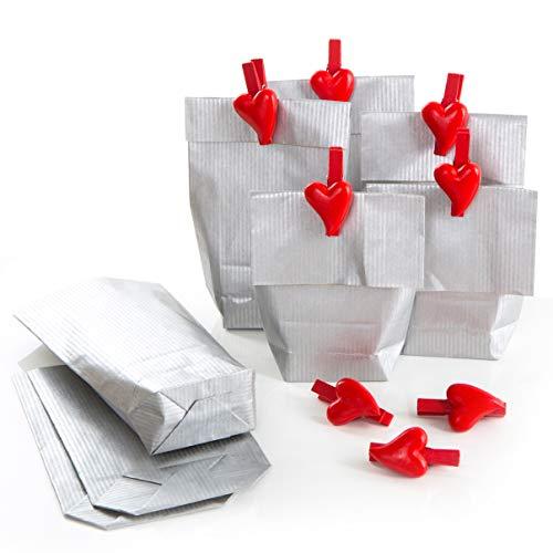 Logbuch-Verlag 8 kleine geschenkzakjes zilver 9 x 15 cm + hartvormige klemmen rood gastgeschenk give-Away bruiloft kerst verpakking adventskalender 8 Stück