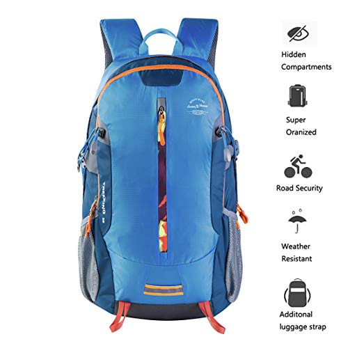 Hiking Daypack 30L Travel Camping Backpack Blue