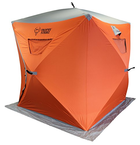 Trophy Strike 106707 Ice Shelter - Three Person, Durable, Flame Retardant Shell With Windows