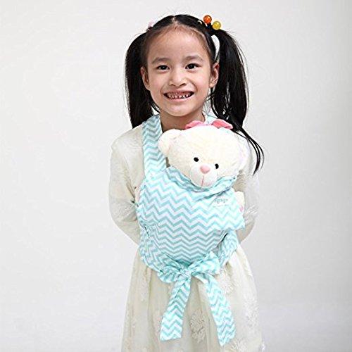 Baby Doll Carrier Mei Tai Sling Toy pour enfants Enfant enfant en bas d'enfant Dos, Mini-porteuse, Hibou, Dot, Fleur, Kaléidoscope (Aqua Chevron)
