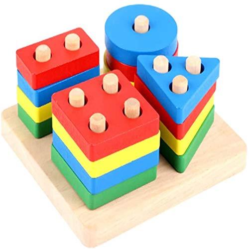 N A Pedagogiska leksaker för barn träpelare barns geometriska former och färgglada kognitiva pedagogiska leksaker undervisningshjälpmedel 11,5 × 11,5 × 5,5 cm