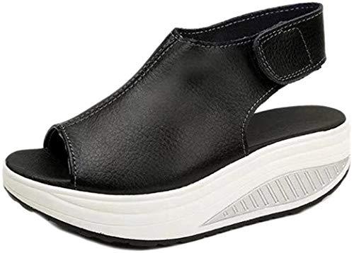 Elecenty Sandalen Übergröße Damen Keilabsatz Schuhe,Schuh Platform Plateau Sommerschuhe Hoch Absatz Shoes Sandaletten Frauen Elegante Peep-Toe regulierbaren Schnallen Freizeitschuhe (42, Schwarz)