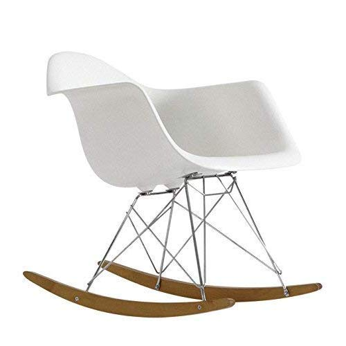 ST017 Mecedora balancín para salón o dormitorio, ideal embarazadas.Asiento blanco patines madera....