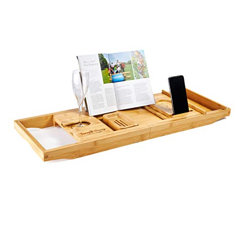 BATH CADDY | Natural Sustainable Bamboo Bath Board By Tranquil Beauty | Secure Slotted Mechanism For iPad, Tablet And Phone | Luxury Extendable Over The Bath Tray With Wine Holder