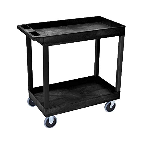 """Offex 32"""" x 18"""" Mobile Multipurpose Utility Cart with 2 Tub Shelves and Push Handle - Black, Great for Warehouse, Garage and More"""