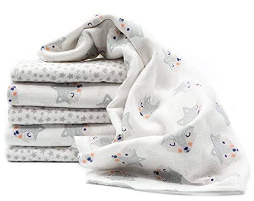Clevere Kids Mulltücher Sterne grau   6er Pack   Spucktücher Mullwindeln   70x80   doppelt gewebt  OEKO-TEX (Kleiner Fuchs-Twinklestar weiß)