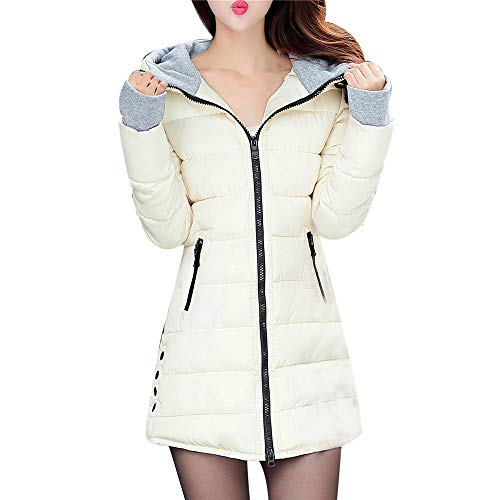 OSYARD Damen Gepolsterte,Mantel,Kapuzemantel, Frauen Langarm Oberbekleidung mit Handschuhen Cotton Padded Jacken Pocket Hooded Coat wasserdichte Kapuzenjacke Lang Outwear Steppjacke