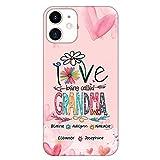 Love Being Called Grandma Daisy Flower Personalized Phone case, Custom Grandma with Grandkids Name Phone Case, Mothers Day, Grandparent Day, Birthday Gift for Grandma, Mom, Nana, Mawmaw, Grandmother