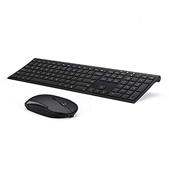 Wireless Keyboard and Mouse Vssoplor 2.4GHz Rechargeable Compact Quiet Full-Size Keyboard and Mouse Combo with Nano USB Receiver for Windows Laptop PC Notebook-Black