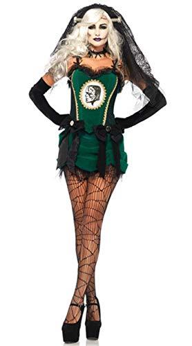 LASISZ Fantasma Novia Verde Disfraz para Mujer Novia de Halloween Scarey Cosplay Fantasia Anastasia veilfancy Boda Vestido Largo, Verde, Talla nica