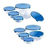 Renberg Set de 20 Piezas-10 Tapas-Contenedores para Alimentos, Vidrio, Azul, Medidas diversas: 150, 200, 350, 500 y 900 ml. (2 Unidades de Cada, 20x19x18 cm