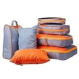 YuuHeeER Juego de cubos de embalaje impermeable organizador de equipaje de viaje naranja 7 piezas
