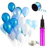 Auped Blau Ballons Set, Enthaltet 100 Luftballons (Perlmutt + Hellblau + Dunkelblau), 1 Ballonpumpe,...