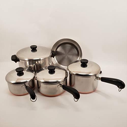 Set of Four Vintage Revere Ware Copper Clad Cookware
