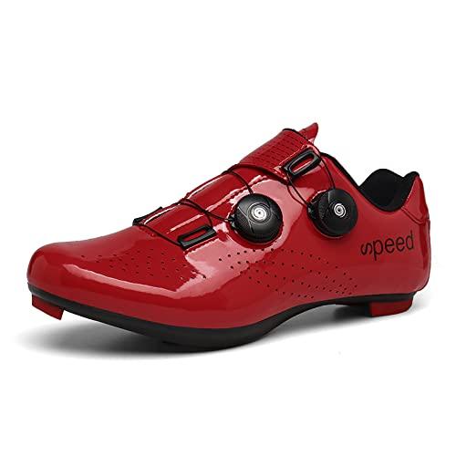 KUXUAN Calzado de Ciclismo Hombre Mujer con Bloqueo Zapatos Bicicleta de Carretera Calzado eléctrico Calzado Deportivo de Ciclismo,Red-45EU