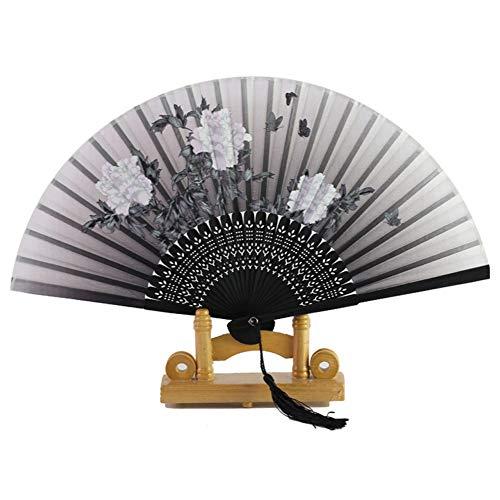 MOJIE Temperamento Señoras De La Borla del Hueco del Ventilador De Bambú Bellamente Impreso Fan Joyería Y Accesorios (Color : Black)