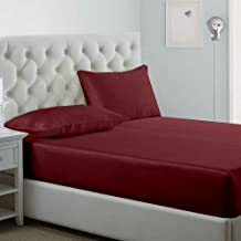 IBed home Fitted bedsheet 3pieces Set, Microfibre, King size, Red, W 30.4 x H 23.8 x L 7.4 cm