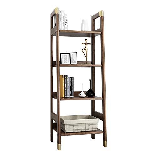 ffshop Estantería de Oficina Organizador de librería Abierto de 4 estantes con estantería de Escalera de Marco de Madera Maciza, W 16.9in × H 53.5in × D 16.3', Espresso Estantería de Escritorio