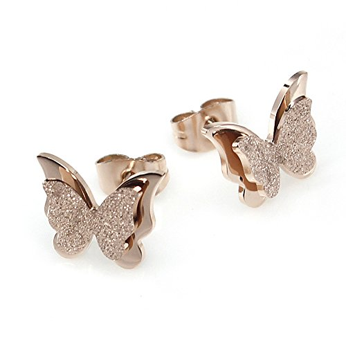 WANGQING Women Titanium Stainless Steel-Natural Shell Anti-Allergy Stud Earrings Matte Finish Butterfly Shaped Earrings Rose-Golden Plated