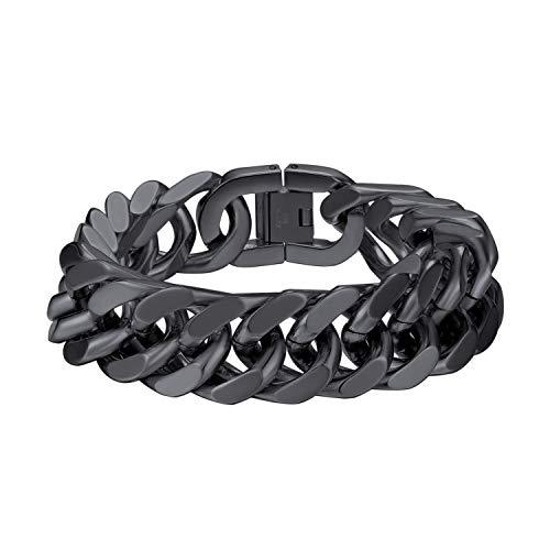 Pulsera para hombre de Bandmax, 17 mm de ancho, cadena de eslabones de 21 cm de largo, de acero inoxidable, clásica, estilo hip hop, regalo para hombres y jóvenes