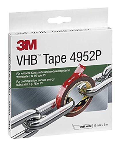 3M VHB Klebeband 4952P, 19 mm x 3 m, 1,1 mm, Weiß, Schutzabdeckung: Papier (1-er Pack)