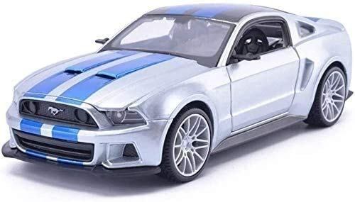 WASHULI Druckguss-Auto-Modell im Maßstab 1:24 Ford Mustang GT Need for Speed Simulation Legierung Spielzeug-Auto-Modell-Dekoration 20x8.7x6cm (Color : Silver)