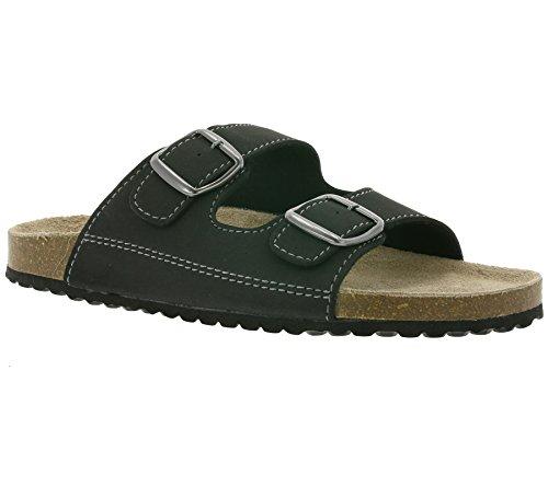Softwaves Herren Sandalen 174-001 Hausschuhe Pantoletten Leder Fußbett schwarz (45 EU)