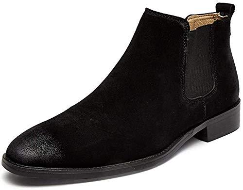 LXF JIAJU Zapatos de Hombre Botina Retro Botas del Tobillo De Los Hombres, Tirar De Suede Shoes Punta Estrecha, Bloque De Pata Pulidas El Estilo Elástico Caras (la Lana Forrada Opcional)