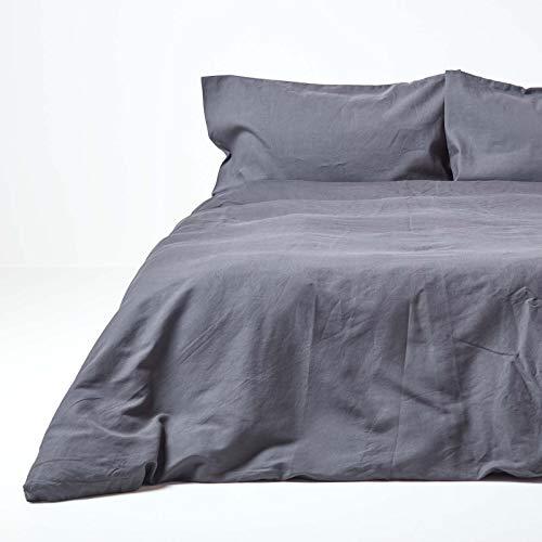 Homescapes Leinen-Bettwäsche 3-teiliges Set Anthrazit unifarben (Bettbezug 240 x 220 cm und Zwei Kissenbezüge 80 x 80 cm) Dunkelgrau, 100% Reine Baumwolle und französisches Leinen