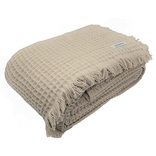 Bademayer Prestige - Brasil Sommerdecke Schlafdecke Tagesdecke Pique-Decke Kuscheldecke 150 x 200 cm. aus 100prozent Baumwolle 350 g/m² - (Sand - Beige)