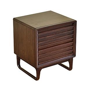 Bedside Tables LI Jing Shop - Muebles de Madera Maciza Mesillas de Noche Dormitorio de Simplicidad nórdico Armario de Almacenamiento (Color : Color Nogal)