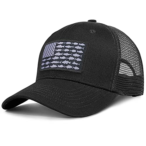American Fish Flag Trucker Hats - Fishing Gifts for Men - Outdoor Snapback Fishing Hats Perfect for Camping and Daily Use
