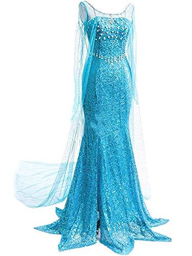 Lonely hero Damen Elegante Prinzessin Elsa Kleid mit warmer Stola Pailletten-Kleid Kostüm Cosplay Kleider
