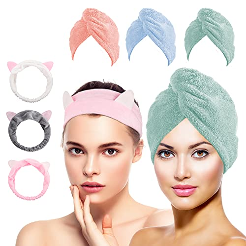 Microfiber Hair Towel, Aigra 3 Pack Hair Turban for Women, Super Absorbent Hair Wrap Towel for Wet Hair(Blue, Pink, Light Green)