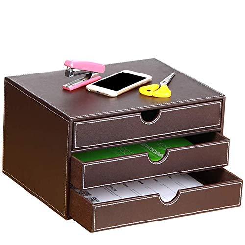 Skrivbordspennahållare Läder Multifunktionellt skrivbordspapper Organizer Förvaringslåda med lådarrangör för kontorshem,Brown
