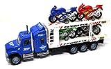 VENTURA TRADING Transportador de automóviles y 4 Motos Bicicletas de Carreras Carros de Juguete Motos camión Carros de Juguete Juego Coche Modelos