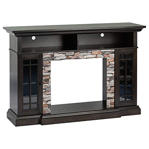 """e-Flame USA Whistler Large Mantel Electric Fireplace Stove TV Stand with Media Shelves - Faux Stone Dark Oak - 66""""x43"""""""