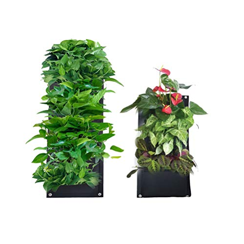 KiMiLIKE 4 Pocket Vertical Wall Garden Planter Wall Hanging Planter Growing Bags