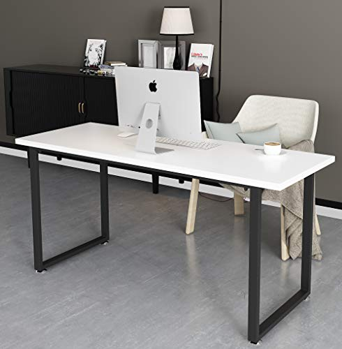 Tayene Computer Desk Study Writing Table for Home Office, Industrial Style PC Desk, Black Metal Frame (55'', White)